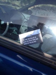 rude windscreen note